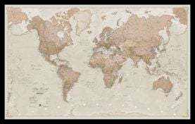 Small Antique World Map (Pinboard & framed - Black)