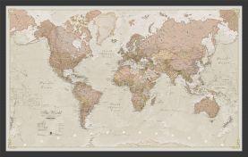 Medium Antique World Map (Wood Frame - Black)