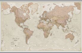 Large Antique World Map (Rolled Canvas with Hanging Bars)