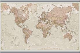 Small Antique World Map (Hanging bars)