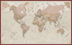 Large Antique World Map (Pinboard & framed - Dark Oak)