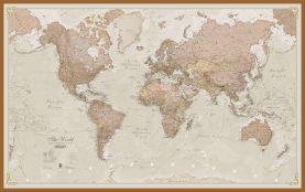 Large Antique World Map (Wood Frame - Teak)