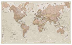 Large Antique World Map (Wood Frame - White)