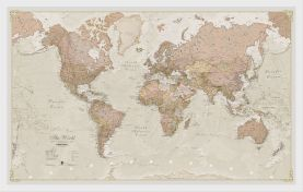 Medium Antique World Map (Wood Frame - White)
