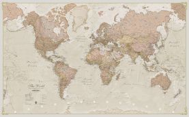Small Antique World Map (Magnetic board and frame)