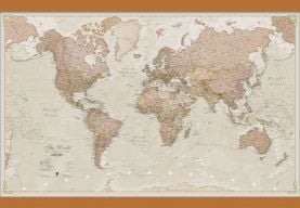 Small Antique World Map (Wooden hanging bars)