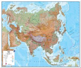 Large Asia Wall Map Physical (Pinboard)