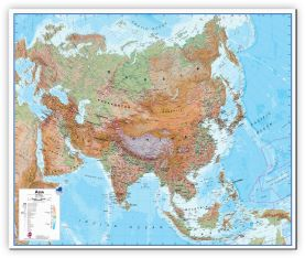 Large Asia Wall Map Physical (Canvas)
