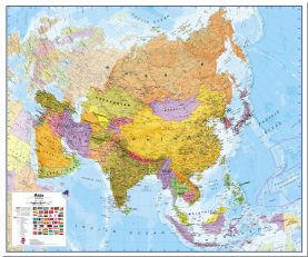 Large Asia Wall Map Political (Pinboard)