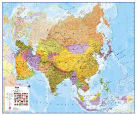 Huge Asia Wall Map Political (Magnetic board and frame)
