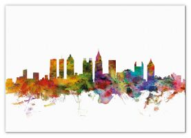 Large Atlanta Georgia Watercolour Skyline (Canvas)