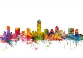 Austin Texas Watercolour Skyline