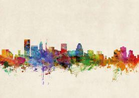 Baltimore Maryland Watercolour Skyline
