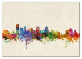 Large Baltimore Maryland Watercolour Skyline (Canvas)