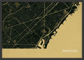 A4 Barcelona City Street Map Print Straw (Wood Frame - Black)
