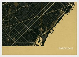 A4 Barcelona City Street Map Print Straw (Wood Frame - White)