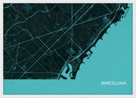 A4 Barcelona City Street Map Print Turquoise (Wood Frame - White)