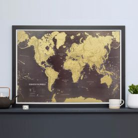 Scratch the World® black edition map print (Pinboard & wood frame - Black)