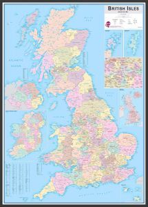 Large British Isles Administrative Map (Wood Frame - Black)