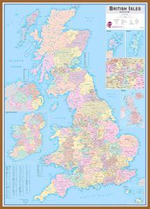 Large British Isles Administrative Map (Wood Frame - Teak)
