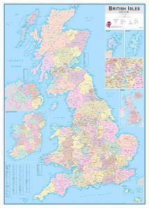 Large British Isles Administrative Map (Pinboard & wood frame - White)
