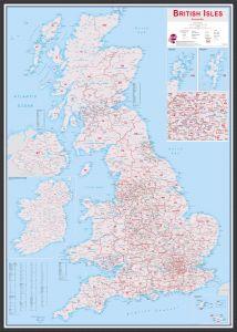 Large British Isles Postcode Map (Wood Frame - Black)
