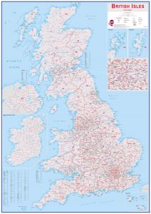Huge British Isles Postcode Map (Magnetic board and frame)