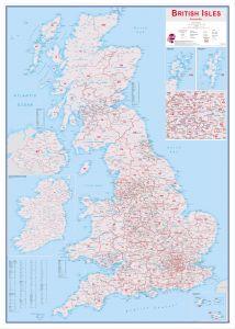 Large British Isles Postcode Map (Wood Frame - White)