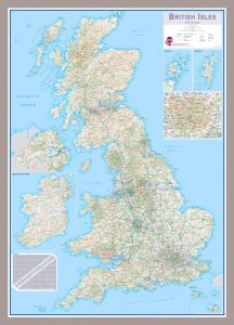 Medium British Isles Routeplanning Map (Pinboard & framed - Silver)