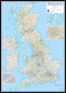 Huge British Isles Routeplanning Map (Pinboard & framed - Black)
