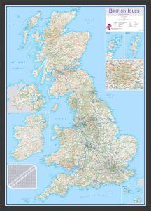 Medium British Isles Routeplanning Map (Wood Frame - Black)