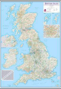 Large British Isles Routeplanning Map (Rolled Canvas with Hanging Bars)