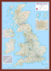 Medium British Isles Routeplanning Map (Pinboard & framed - Dark Oak)