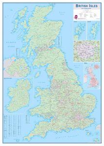 Large British Isles Sales and Marketing Map (Wood Frame - White)