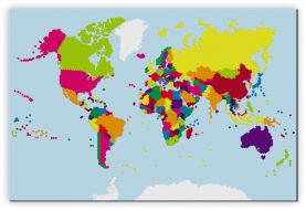 Large Building Blocks Map of the World (Canvas)