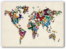 Large Butterflies Map of the World 3 (Canvas)