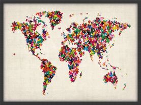 Small Butterflies Map of the World (Wood Frame - Black)