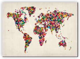 Large Butterflies Map of the World (Canvas)