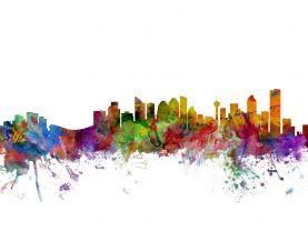 Calgary Canada Watercolour Skyline