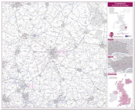 Cambridge Postcode Sector Map (Pinboard)