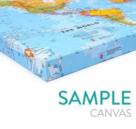 Small World Wall Map Political with flags (Canvas)
