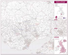 Cardiff and Swansea Postcode Sector Map (Pinboard)