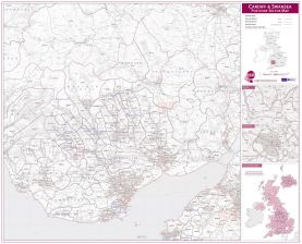 Cardiff and Swansea Postcode Sector Map (Raster digital)