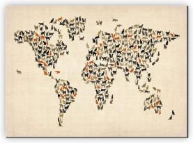 Extra Small Cats Map of the World (Canvas)