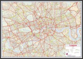 Large Central London street Wall Map (Wood Frame - Black)