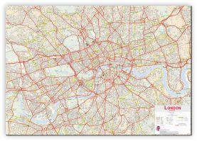 Large Central London street Wall Map (Canvas)