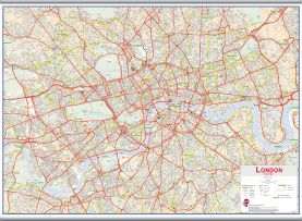 Large Central London street Wall Map (Hanging bars)