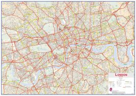 Central London street Wall Map