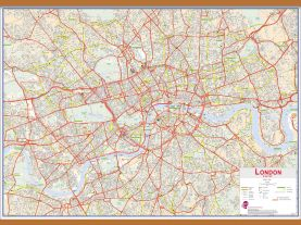 Huge Central London street Wall Map (Wooden hanging bars)