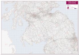 Central Scotland and Northumbria Postcode District Map (Pinboard)